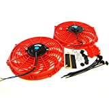Set of 2 Universal 12 inch Slim Fan Push Pull Electric Radiator Cooling 12V Mount Kit Red