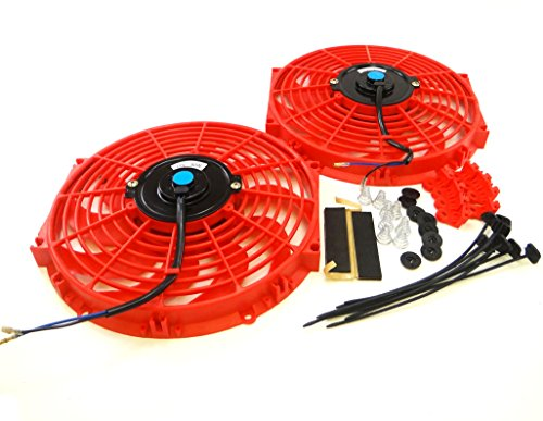 (Set of 2 Universal 12 inch Slim Fan Push Pull Electric Radiator Cooling 12V Mount Kit Red)