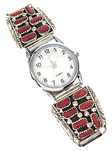 Made in USA Navajo Men's Sterling Silver Watch Tips with Coral Stones and Expansion Band and Watch Head