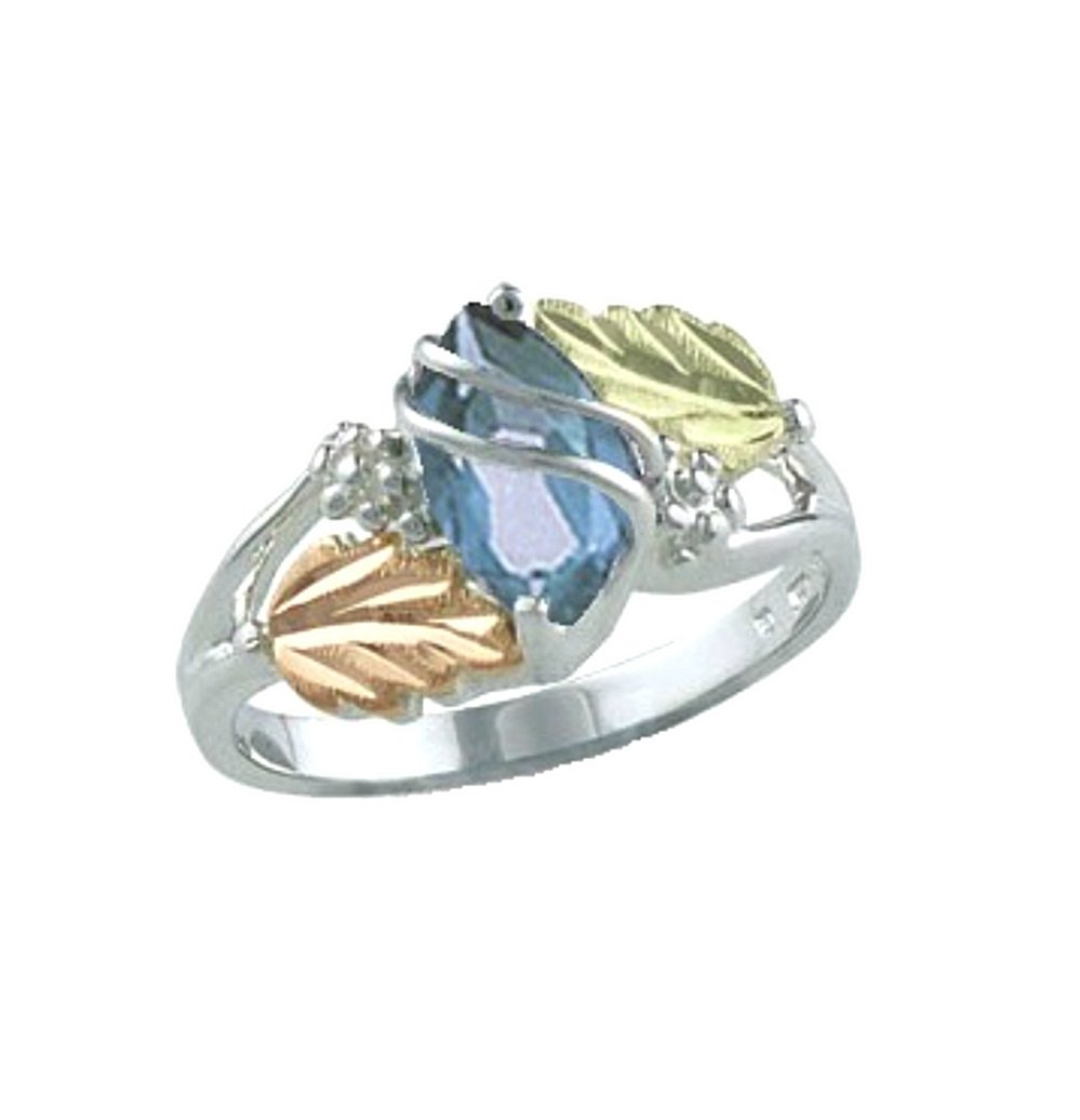 Marquise Created Aquamarine March Birthstone Ring, Sterling Silver, 12k Green and Rose Gold Black Hills Gold Motif, Size 6.5