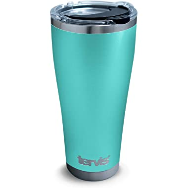 Tervis 1310931 Powder Coated Stainless Steel Insulated Tumbler with Clear and Black Hammer Lid, 30 oz, Seafoam Blue