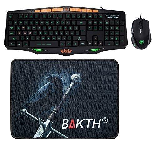 BAKTH Gaming Tastatur und Maus SET (3-Farben Einstellbare Beleuchtung / USB / US Layout QWERTY / Englisches / 1600DPI / Maus-Pad enthalten ) - Schwarz