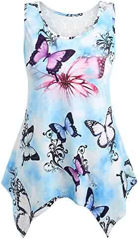 Womens Tank Tops Ulanda Ladies Summer Butterfly Print Lace Vest Shirt Blouse Tunic Clearance