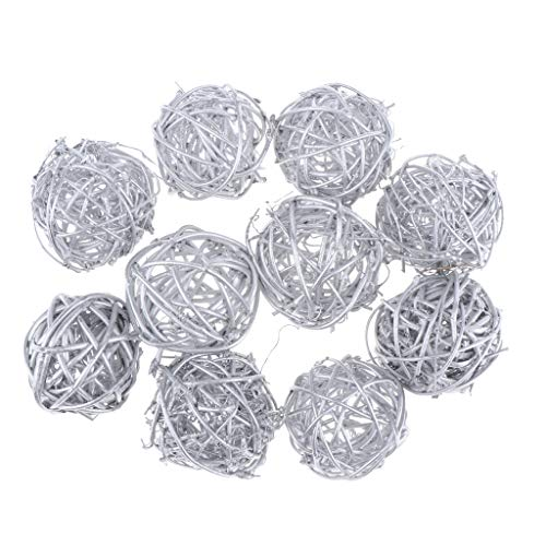 LoveinDIY 5cm 3 Colors 10 Pack Handmade Rattan Wicker Ball Decoration Ornaments Wedding Christmas Party Table Desk Garden Hanging Decoration DIY Supplies - Silver from LoveinDIY