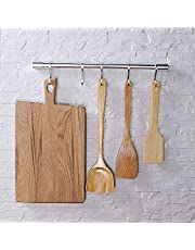 KAIYING Gourmet Kitchen Utensil Rack Wall Mounted Rail Storage Organizer Kitchen Tools for Hanging Spoon,Pot and Pan with Removable S Hooks,Aluminum