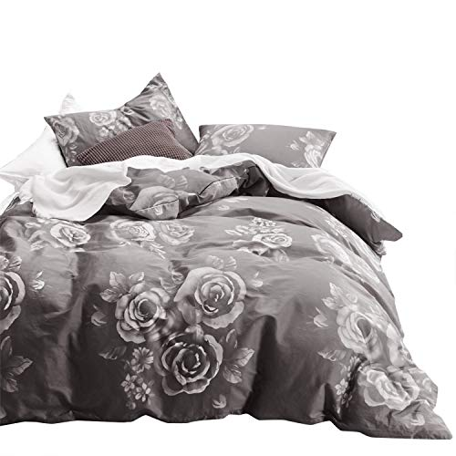 Wake In Cloud - Floral Comforter Set, 100% Cotton Fabric with Soft Microfiber Fill Bedding, White Rose Flowers Pattern Printed on Dark Gray Grey (3pcs, Queen Size)
