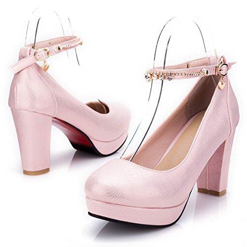 TAOFFEN Women Fashion Block Heel Court Shoes Pink GsfE1mkheg