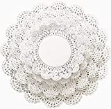 The Baker Celebrations 200 Paper Lace Doilies Variety Pack 5 6 8 and 10 inch (50 of Each Size) White Round Doily Assorted Sizes