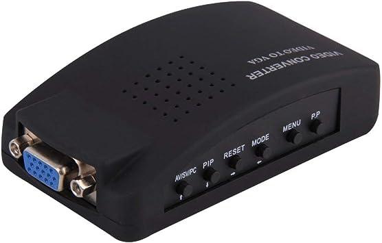 PC Laptop Video Compuesto TV RCA Compuesto S-Video AV Entrada a PC VGA LCD out Convertidor Adaptador Caja de Interruptor Negro EE. UU. JBP-X: Amazon.es: Electrónica
