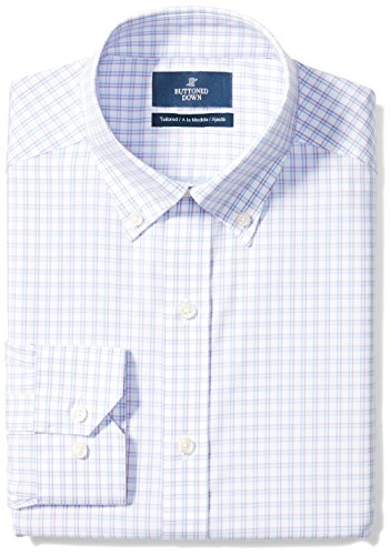 BUTTONED DOWN Men's Tailored Fit Button-Collar Pattern Non-Iron Dress Shirt, Purple/Blue Check, 17