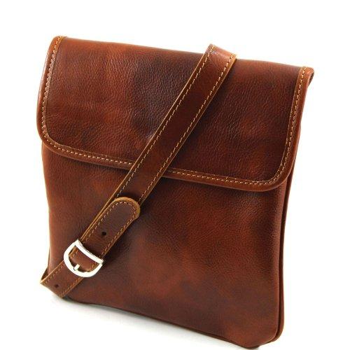 Tuscany Leather - Bolso al hombro de piel de cerdo para hombre Beige beige