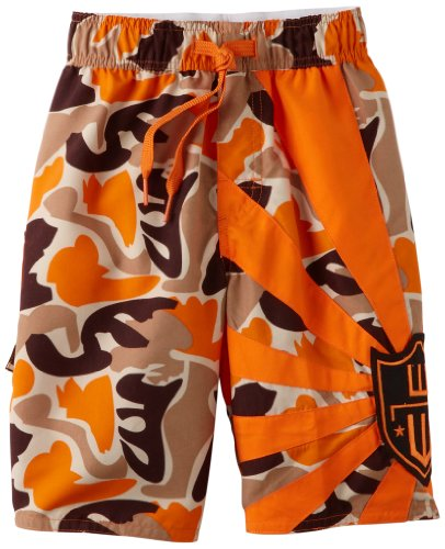 Wes and Willy Little Boys' Size Zip Logo Swim Trunk, Bright Orange, ()
