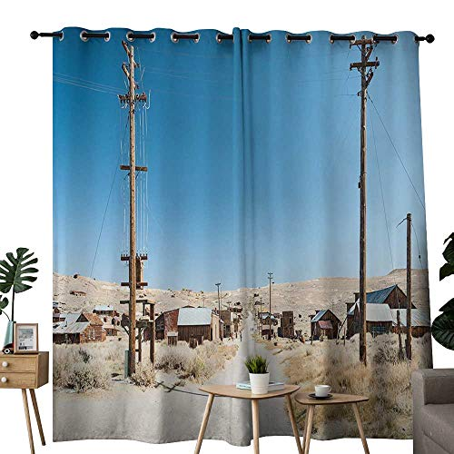 curtains Western,Bodie State Historic Park Ghost Town in California United States Arid Country,Light Blue Beige ,Treatments Thermal Insulated Light Blocking Drapes Back for Bedroom 100