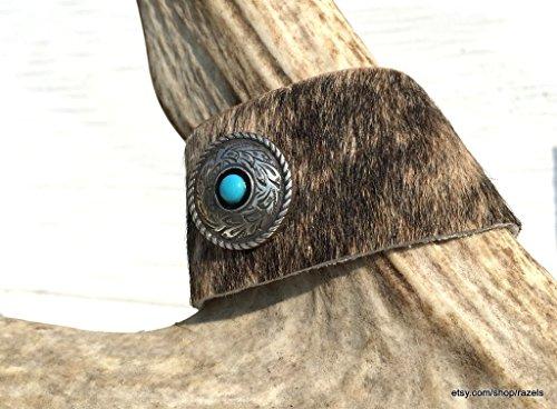 Hair on Hide Bracelet, Leather Cuff Bracelet, Turquoise Silver Concho,LEATHER TURQUOISE BRACELET, Rustic Cuff Bracelet, Warrior Bracelet (Hide Concho)