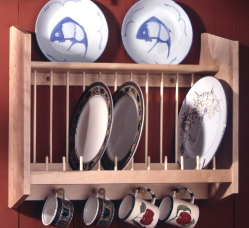 Plate Rack with Shelf, Natural MADE IN USA by Woodform