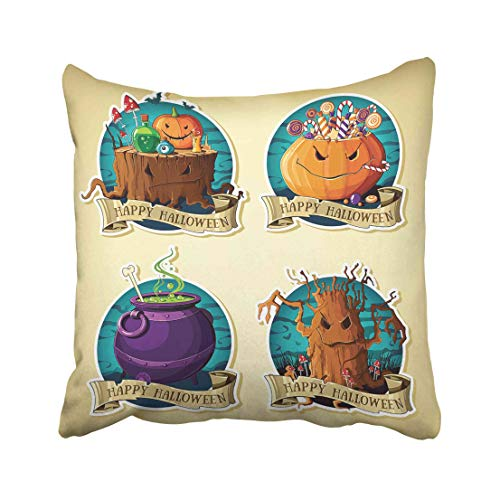 Emvency Spooky of Halloween Vintage Labels with Pumpkins Sweets Tree Cauldron Stump Grin Collection Witchcraft Bat Throw Pillow Covers 18x18 inch Decorative Cover Pillowcase Cases Case Two Side