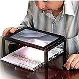 Magnifying Glass Handheld Reading Magnifier Desktop Magnifier 4 LED Lighted 3X Magnification Foldable Magnifier Portable for Elder Kids and Seniors (Desktop Magnifier)