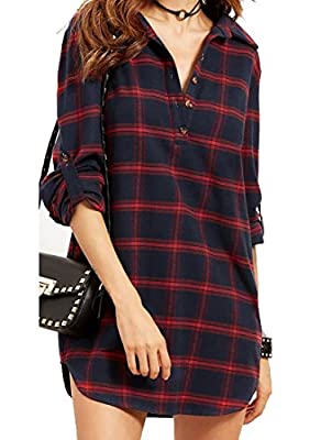 ARRIVE GUIDE Womens Casual Roll Up Long Sleeve V-Neck Plaid Shirt Dress