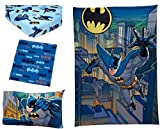 TN 3 Piece Blue Grey Boys Batman Toddler Bedding, Gray Yellow Superhero Toddler Quilt Set Dark Knight Bat-Man Toddler Set Hero Yellow Black Multi Colored Classic Look from Comic Vibrant, Polyester