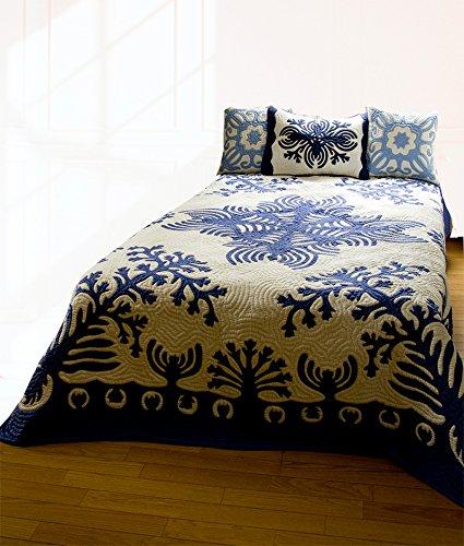 (ラナイブルー) ハワイアンキルト 本格手縫 マルチカバー ベッドカバー ベッドスプレッド Mサイズ B07F67WM8F