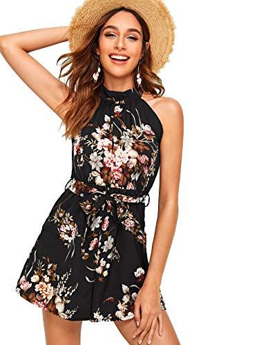 (MAKEMECHIC Women's Summer Floral Print Tie Back Belted Chiffon Halter Playsuit Romper Black Large)