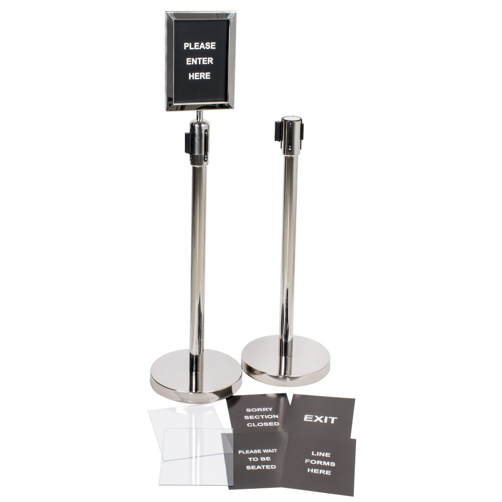 Silver 36'' Crowd Control / Guidance Stanchion Kit including Frame & Sign Set with Clear Covers