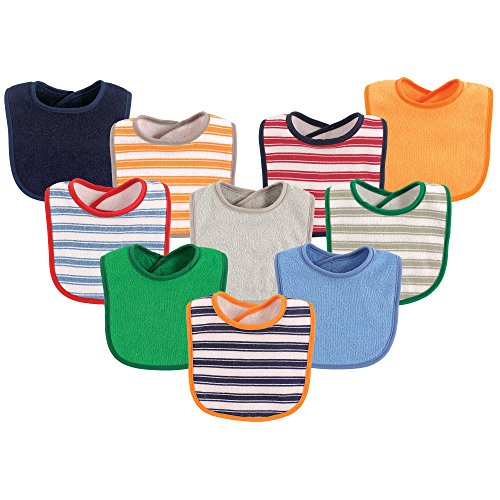 Luvable Friends Unisex Baby Drooler Bibs, Boy Stripe 10-Pack, One Size (The White Stripes A Boys Best Friend)