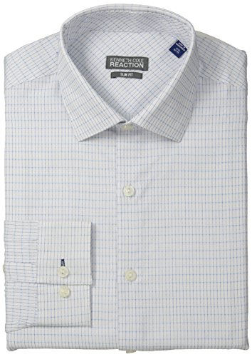 Kenneth Cole Reaction Men's Slim Fit Textured Check, Opal, 17 32/33