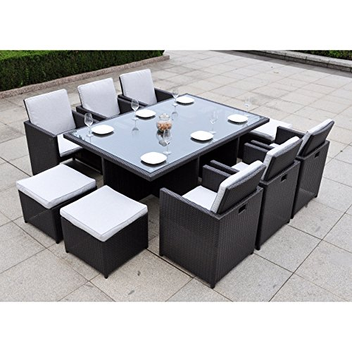 Dark brown modern 11 pc resin wicker patio dining table - Practical and affordable contemporary plastic garden furniture ...