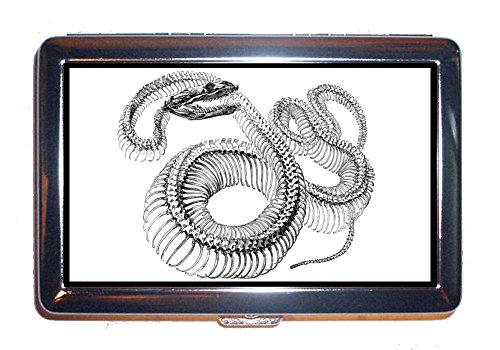 Victorian Snake - Snake Skeleton Victorian Gothic Scary Graphic Stainless Steel ID or Cigarettes Case (King Size or 100mm)