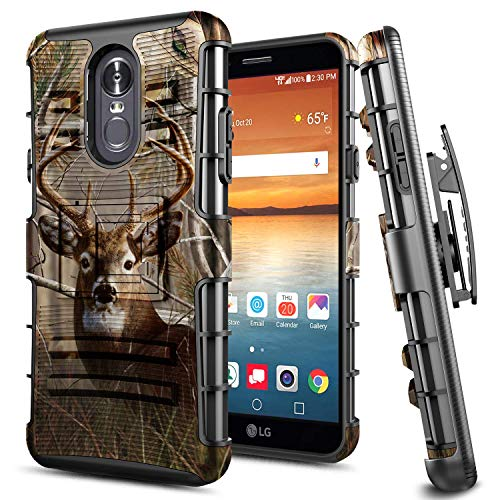 - LG Stylo 4 Case, LG Stylo 4 Plus Case, E-Began Belt Clip Holster with Kickstand Protective Hybrid Cover Heavy Duty Armor Defender Shockproof Rugged Premium Case (Deer)