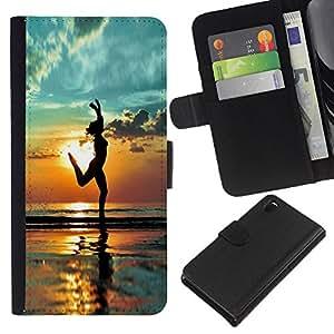 EJOY---La carpeta del tirón la caja de cuero de alta calidad de la PU Caso protector / Sony Xperia Z3 D6603 / --Yoga de la playa Verano Sombra Socorro