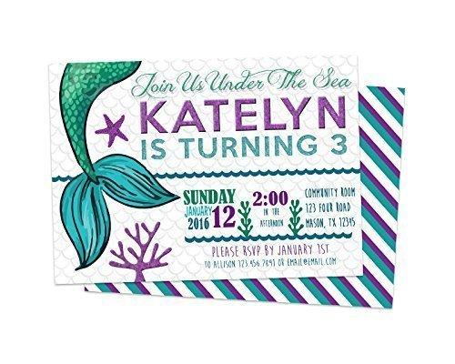 Mermaid Birthday Invitations Girl Party Purple Aqua Teal Tail