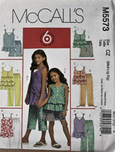 Mccalls Patterns M5573 Childrens Girls Tops  Shorts And Capri Pants  Size Cz  Med Lrg Xlg
