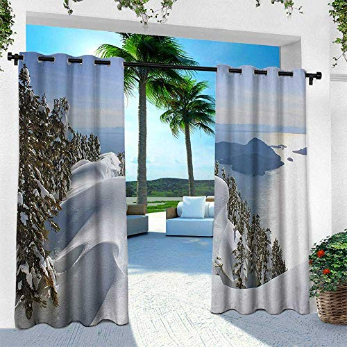 Hengshu Winter, for Front Porch Covered Patio Gazebo Dock Beach Home,Pacific Ocean Meets The Mountains Vancouver British Columbia Canada, W84 x L96 Inch, White Olive Green Blue ()