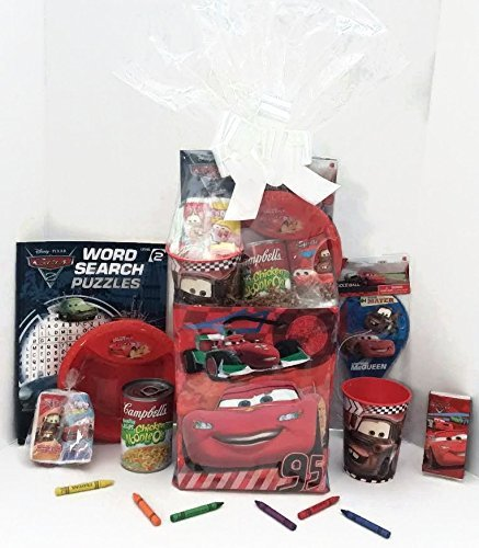 Disney Pixar Cars Gift Basket, Get Well Soon, Care Package, Kids Action Pack 10pc Bundle Includes: Cars Coloring Book, Cars Toy/Game, Cars Candy & Stickers, Cars Gift Bag, Cup & Bowl + Campbell's Soup (Easter Care Package)