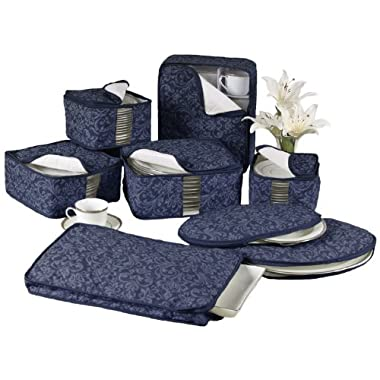 Homewear 8-Piece HUDSON DAMASK China Storage Container Set, Navy