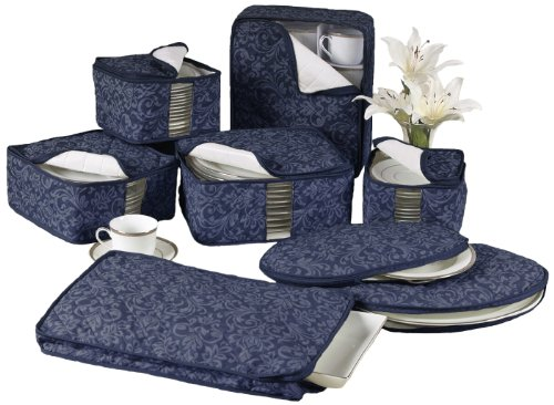 (Homewear 8-Piece Hudson Damask China Storage Container Set, Navy)