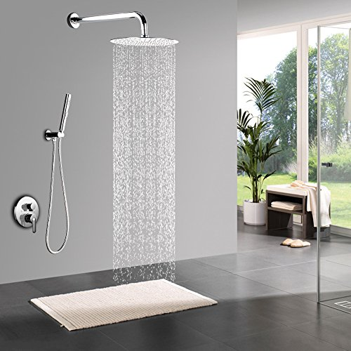STARBATH Shower Systems with 12 Inch Rain Shower Head and Hand Shower, Bathroom Single Handle Shower Faucet Trim Valve Body Complete Kit, Modern Round Rain Mixer Shower Set Wall Mounted, Chrome