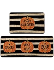 Artoid Mode Watercolor Stripes Pumpkin Decorative Kitchen Mats Set of 2, Happy Halloween Spooky Trick or Treat Boo Halloween Holiday Party Low-Profile Floor Mat for Home Kitchen - 17x29 and 17x47 Inch