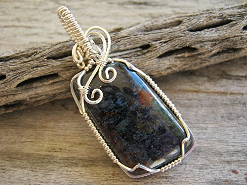 Blue Pietersite Pendant Necklace, 925 Sterling Silver, Chatoyant Wire Wrapped Gemstone Cabochon