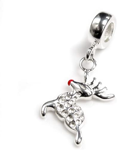 Sterling Silver Charm Bracelet Charms-Reindeer Charm with clasp sold per pc