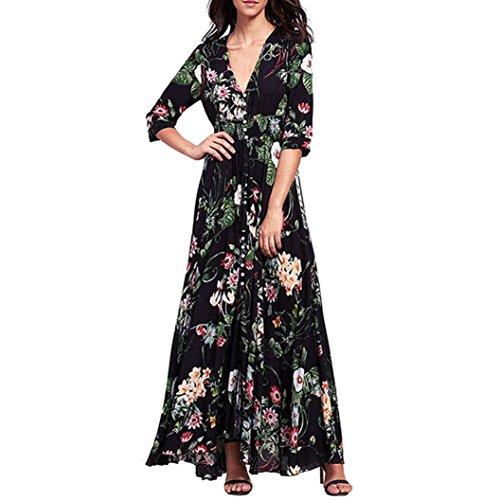 de Mujeres Niñas Vestido Vestido de Largo para Party Dragon868 2018 Verano C Bohemia Floral Beach Mujer Casual 16Zxw6dS