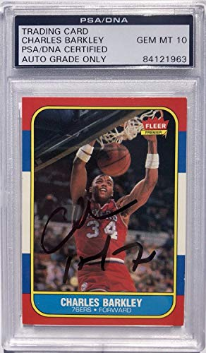 - Charles Barkley Autographed Signed 76ers 1986#7 Fleer Rookie Card PSA/DNA Gem Mint 10 Auto