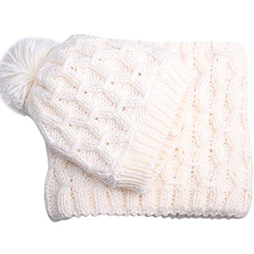 Winter Women Scarf Hat Set Knitted Skullcaps White - 7