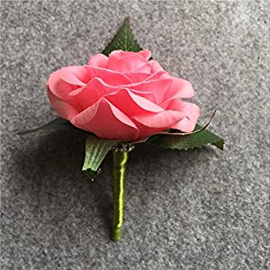 XGM GOU Artificial PU White Rose Groom Boutonniere Wedding Party Men Corsage Prom Pin Brooch Lapel Flower Decoration 2