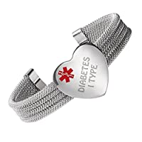 linnalove Diabetes 1 Type,Weave Stainless Steel Medical id Bangle Bracelet for Women