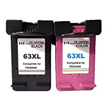 Remanufactured for HP 63XL Ink Cartridge 63XL Black and 63XL Color F6U64A F6U63A (1 Black + 1 Color, 2-Pack)