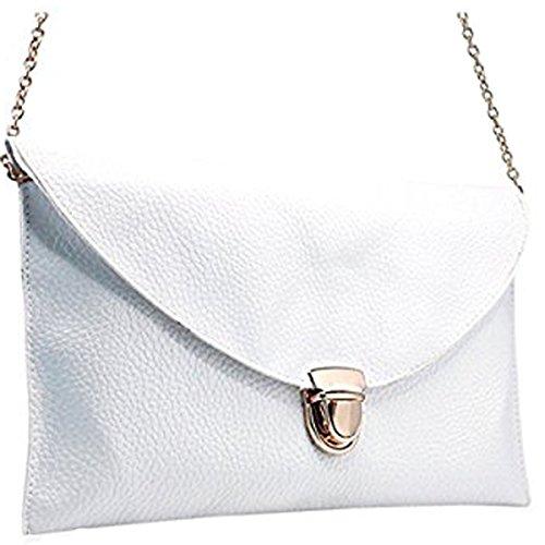 Fashion Women Handbag Shoulder Bags Envelope Clutch Crossbody Satchel Tote Purse Leather Lady Bag (White)