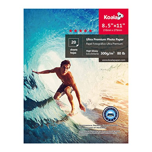 KOALA Photo Paper 8.5x11 inch- 20 Sheets, High Glossy Compatible with All Inkjet Printer, for Photo studio and Photograph (Inkjet Photo Paper)